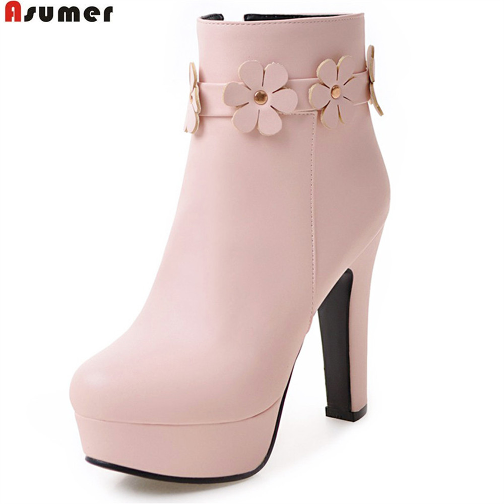 ASUMER fashion hot sale new arrive women boots zipper round toe ladies boots black white pink beige platform ankle boots flower asumer 2018 hot sale new arrive women