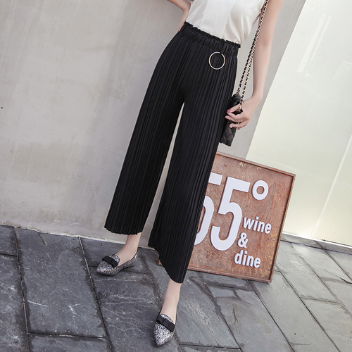 2018 Spring Summer New Chiffon Wide Leg   Pants     Capris   High Waist Office Lady Trousers For Women Fashion Casual Female   Pants