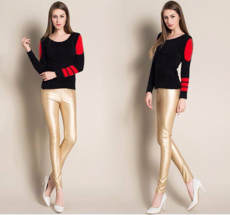 Leggings winter Women High Waist PU Leather Legging Slim Faux Pants Female Fashion Warm Leggings Women 12