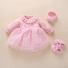 New Born Baby Girls Infant Dress&Clothes Cotton Bow Bapt