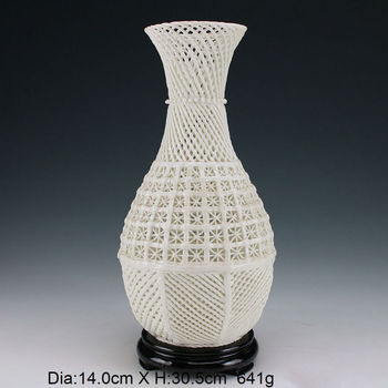 12 inch / Oriental antique hand-carved hollow-out the vase of porcelain