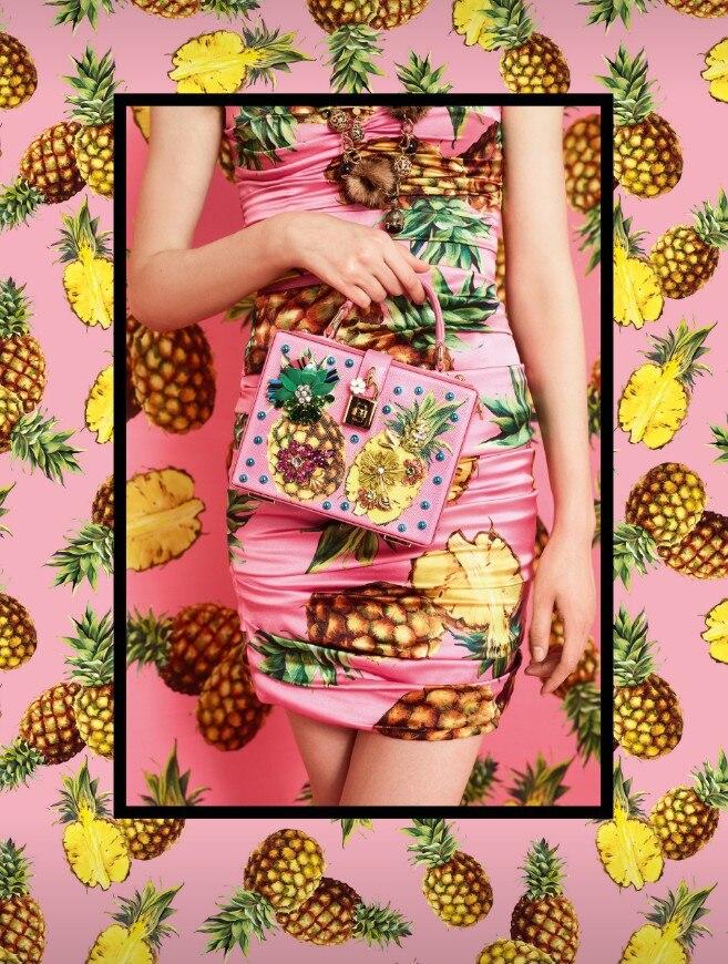 Luxury Designer Handbag Genuine Leather Women Pineapple Embellished Box Tote Bag (1)