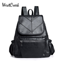 WESTCREEK Brand Fashion PU Leather Small Black Backpack Women College Bag for Girls Anti-theft Laptop Travel Daypack Backpacks
