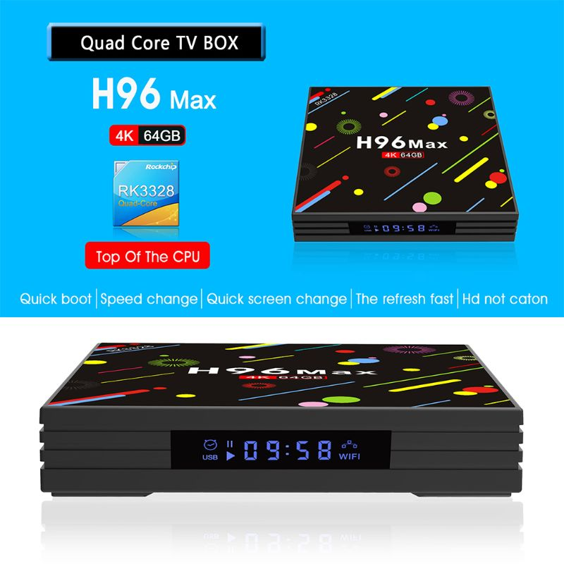 1 Set H96 MAX H2 TV Box pour Android 7.1 1080 P 4G RAM + 64G ROM WiFi Smart 4 K Internet à distance sans fil appareil ménager EU/AU/US/UK