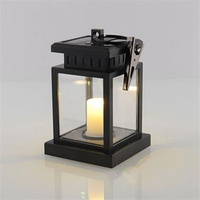 European style solar light lamp led candle lantern patio chandelier hanging garden light with clip outdoor lighting