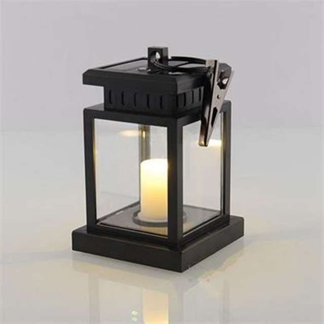European Style Solar Light Lamp Led Candle Lantern Patio Chandelier Hanging Garden With Clip Outdoor
