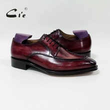 cie square toe custom handmade 100%genuine calf leather men's dress/classic patina red brown derby leather men flat shoe D-02-18