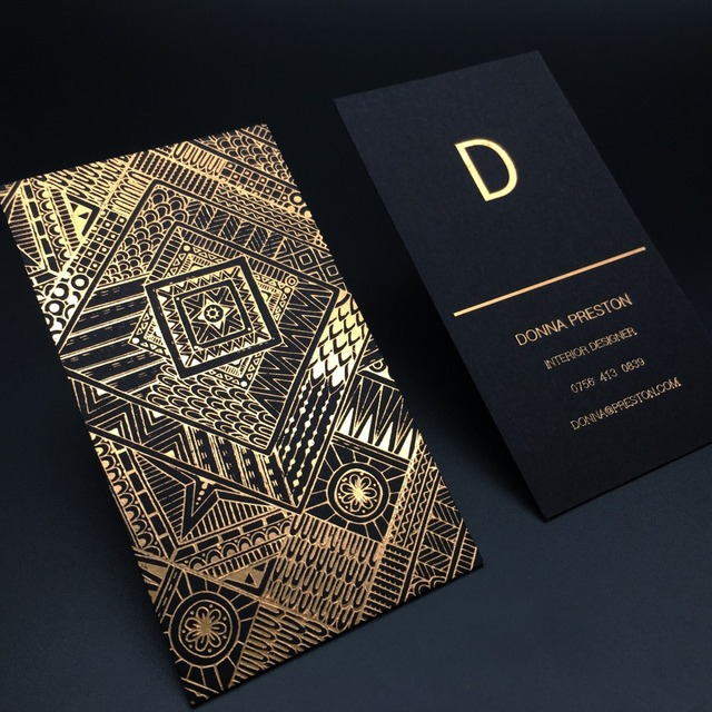 Luxury Gold Foil Black Card Business Card Customized Name