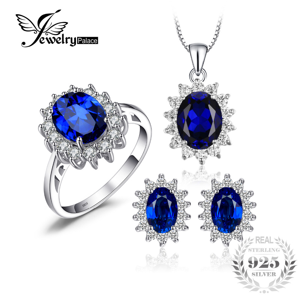 Diana William Engagement Wedding Created Sapphire Jewelry Set 925 Sterling Silver Ring Pendant Stud Earring 45cm Box chain jewelrypalace princess diana jewelry engagement wedding created emerald jewelry 925 sterling silver ring pendant earring