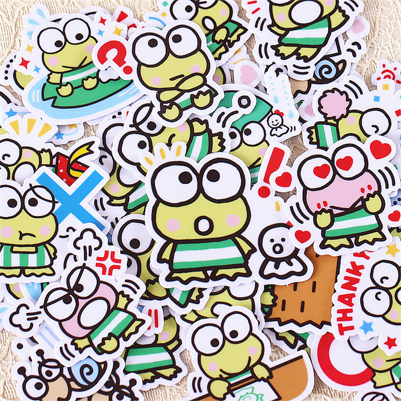 40 PCS Cartoon Mini Blue Frog Paper  Sealing Stickers Crafts And Scrapbooking Book Decorative Sticker DIY Stationery