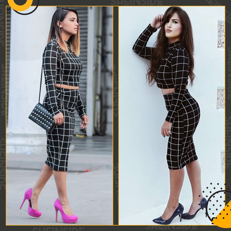 Sheinside Stand Collar Long Sleeve 2 Piece Set Women Crop Grid Top and Pencil Skirt Ladies Elegant Office Ladies Two Piece Set 6