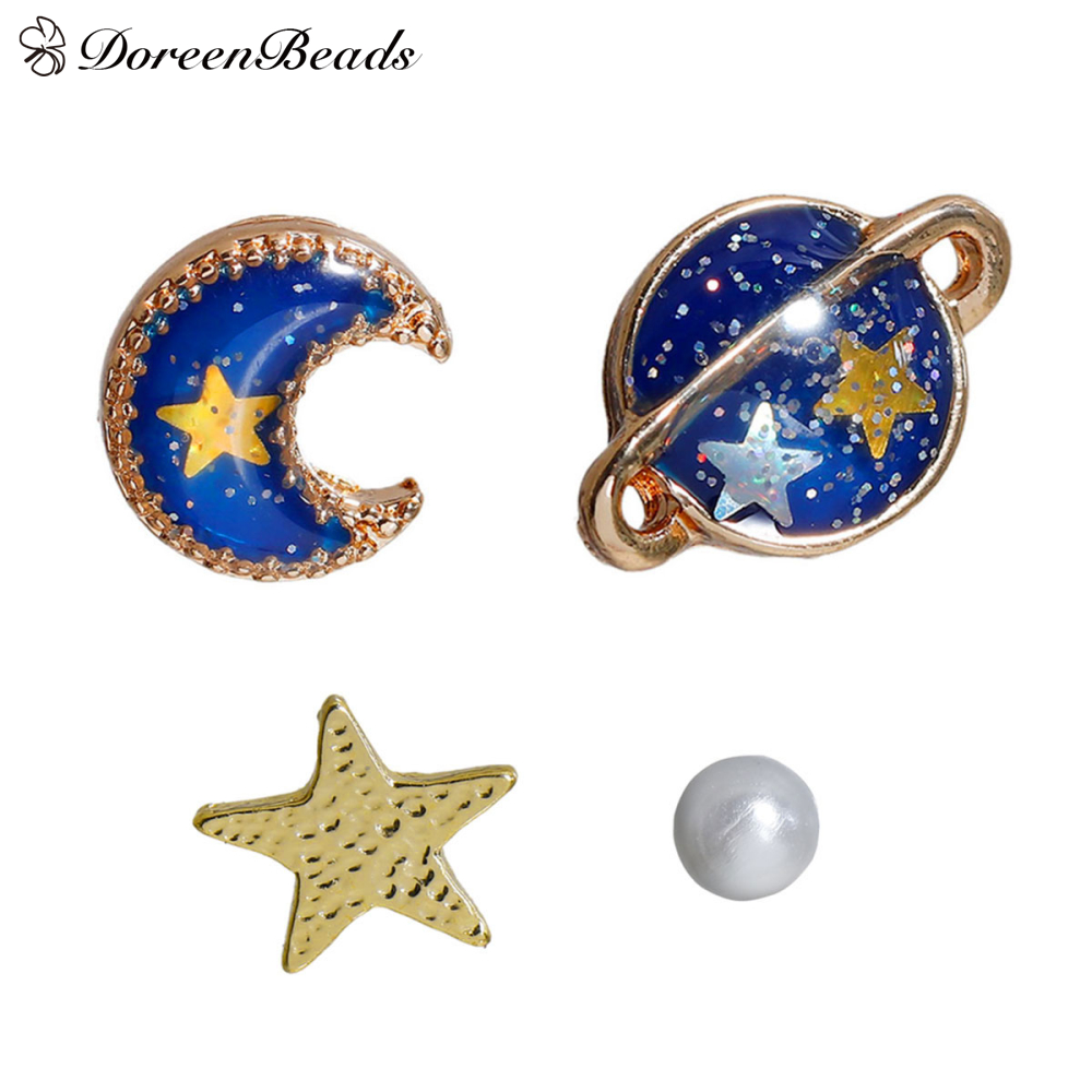 DoreenBeads 2016 Musim Panas Biru Lima Titik Bintang Bulan Planet Stud Earrings warna emas Trendy Lucu 11x8mm-3mm 1 Set (5 Pieces)