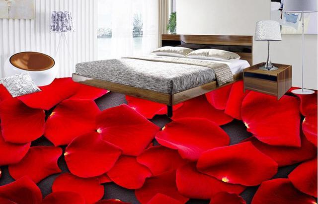 3d bodenbelag foto tapete Romantische rosenblätter 3d boden malerei ...