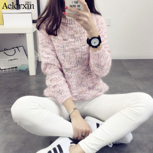 Aelorxin 2016 New Fashion Autumn Winter Women Warm Sweaters Pullovers Long Sleeve O-neck Thick Mohair Sweet Pink Girls Sweater