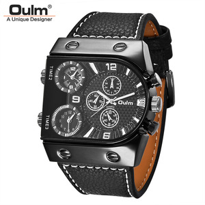 Image 5 - Oulm 腕時計メンズクォーツカジュアルレザーストラップ腕時計スポーツマルチタイムゾーンミリタリー男性時計 erkek saat ドロップシッピング