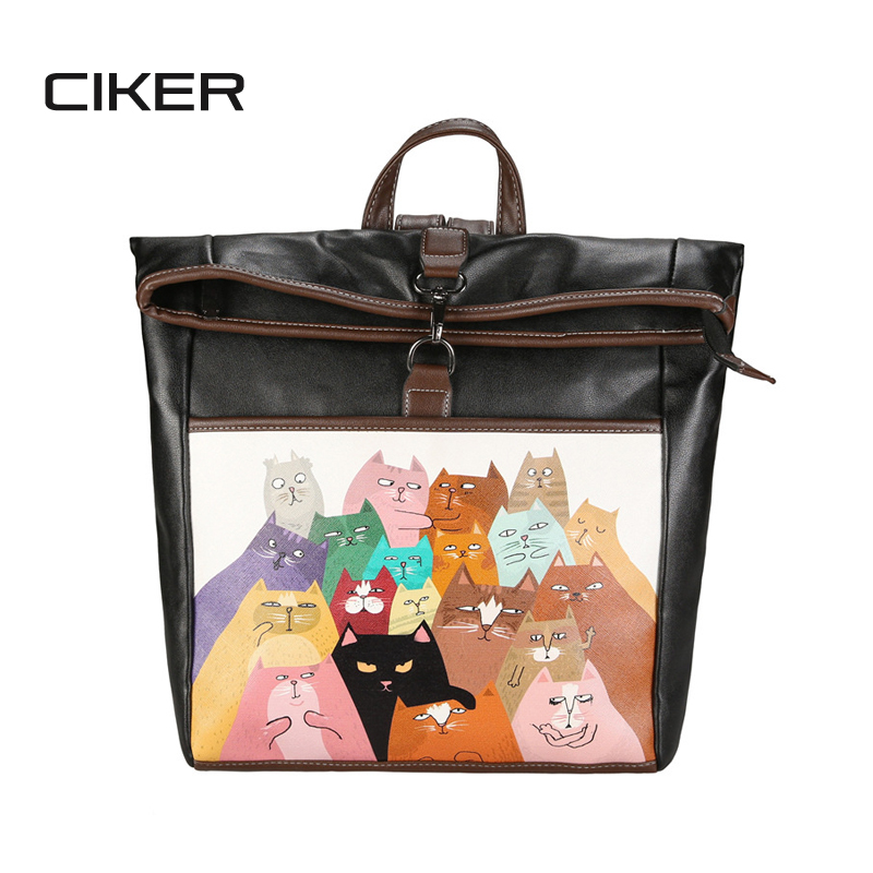 CIKER New fashion cat printing backpack women bucket laptop backpacks for teenage girls school bags bagpack
