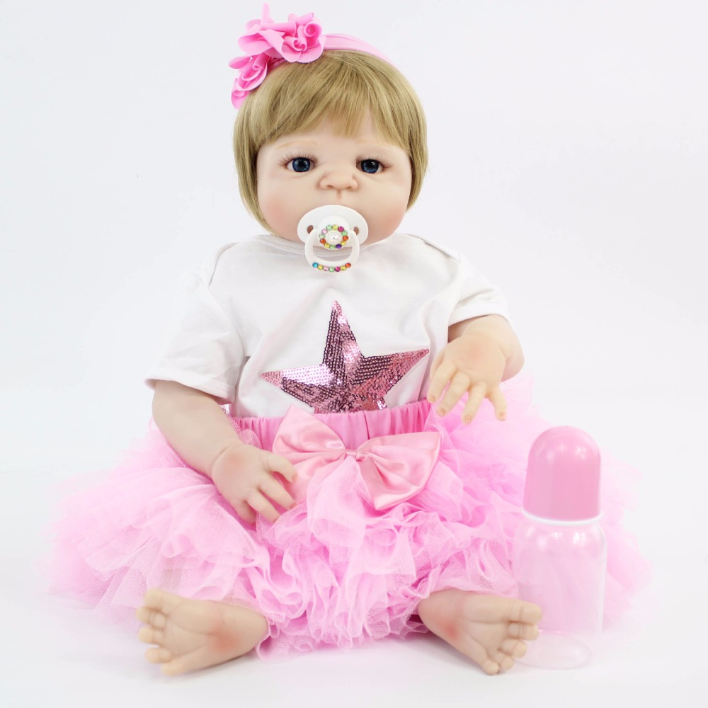 55cm Full Silicone Reborn Baby Doll Toy Blonde Princess Toddler Children Growth Partner Girl Bonecas Alive Bebe Birthday Gift55cm Full Silicone Reborn Baby Doll Toy Blonde Princess Toddler Children Growth Partner Girl Bonecas Alive Bebe Birthday Gift