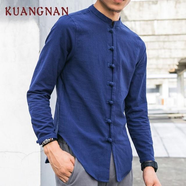 KUANGNAN Chinesischen Stil Männer Hemd Langarm Feste Beiläufige Streetwear Männer Shirt Mann Baumwolle Leinen Hemd Männer Kleidung 2018 Neue