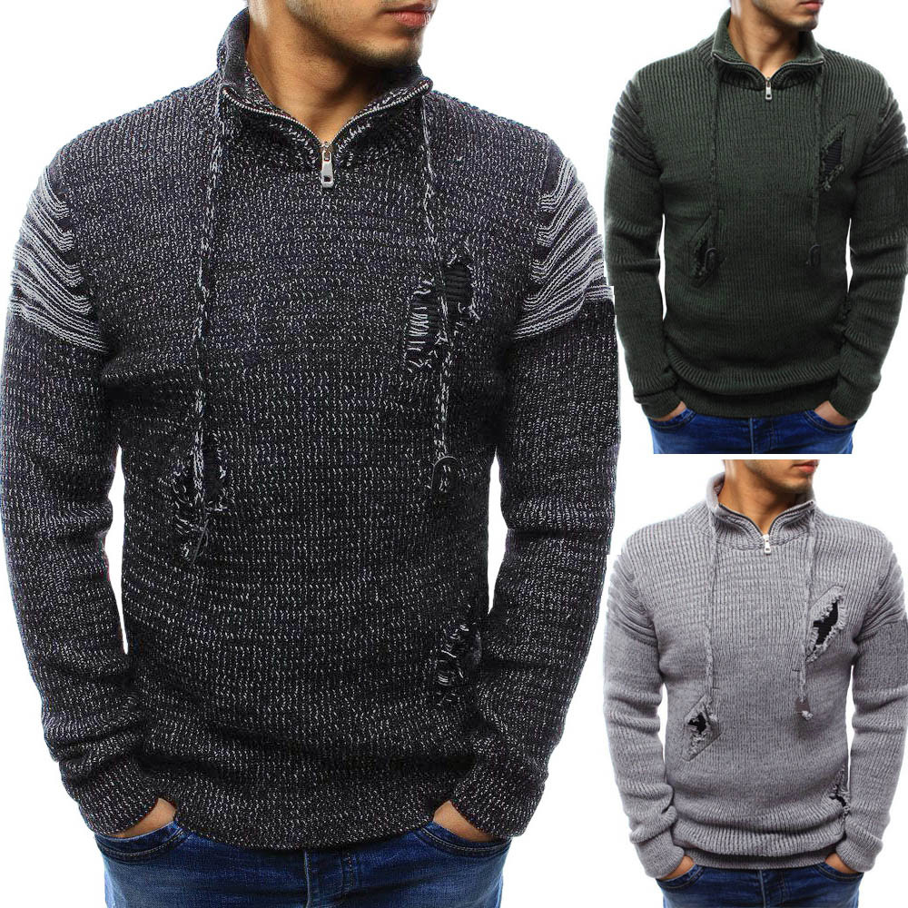 Men's Long Sleeve Winter Splicing Casual Elastic Top Blouse Knitted Sweater