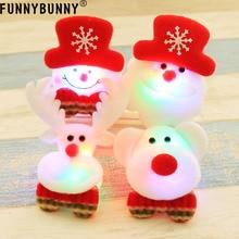 FUNNYBUNNY Christmas Gift LED Glowing Santa,Snowman,Deer,Bear Cartoon Brooch Badge,Toy Luminous