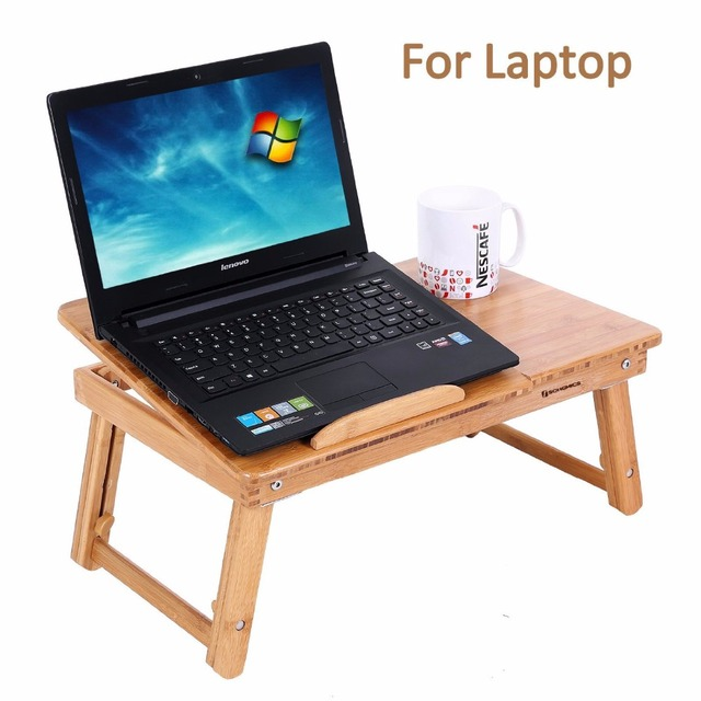 Aingoo 100% Bamboo Laptop Standing Desk Foldable Breakfast Serving Bed Tray Living Room Computer
