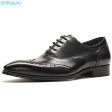 Genuine Leather Men Business Shoe Men British Dress Office Formal Shoe Pointed Toe Casual Fashion Brogue Leather Shoes цены онлайн