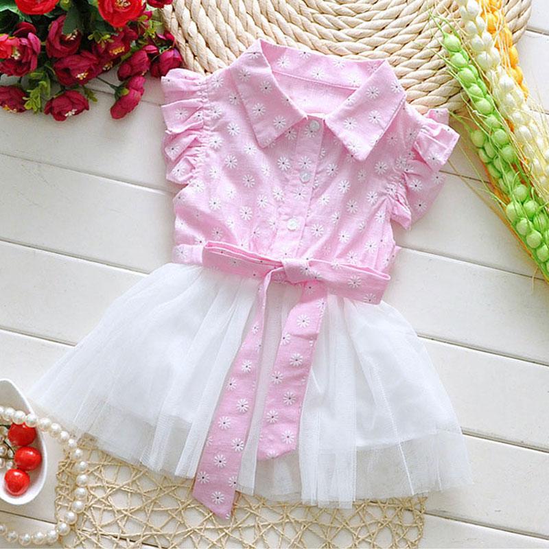 2016 Summer Korean Baby Girls Clothes Flower Dress For