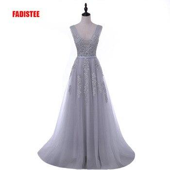 FADISTEE Elegante Lange Brautjungfer Kleider Appliques Spitze mit perlen lace-up stil Hochzeit Party Kleid Unter 50 $
