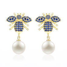 XIUMEIYIZU Fashion Jewelry Insect Bee Shape Earrings With Shell Pearl Pendant Trendy CZ Jewelry For Women