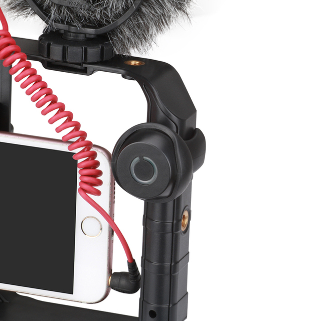Ulanzi Smartphone Video Rig Youtube Facebook Live Stream Stabilizer w Microphone Led Light Bluetooth Remote Control for iPhone 8 3