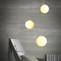 30cm 20cm Nordic Modern White Glass Pendant Light LED Iron Ball Hanging Lamp For Restaurant Living