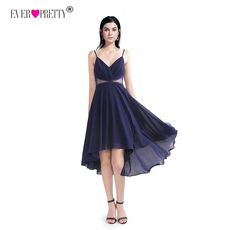 Elegant A-Line V Neck Lace Cocktail Dresses Women Ever Pretty EZ03040 Cheap Sexy Navy Blue Vestidos De Fiesta Por La Rodilla