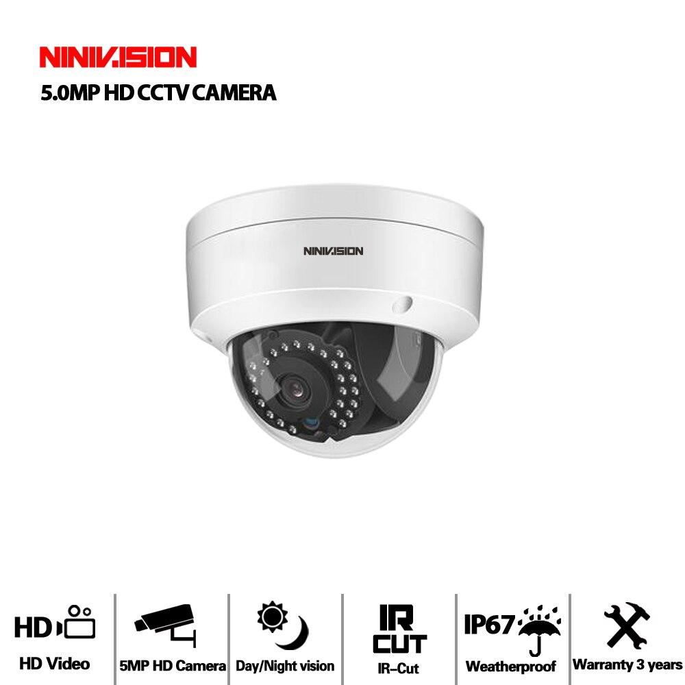 NIVISION H.265 5MP Surveillance CCTV Camera Vandalproof 5MP HD Camera Motion Detection IR Cut Night Vision Small Dome AHD Camera