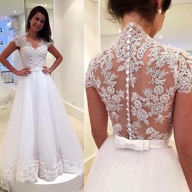 2017 New Model Short Sleeves Sexy Backless Wedding Dress  weding dress weeding dress brautkleid vestido novia