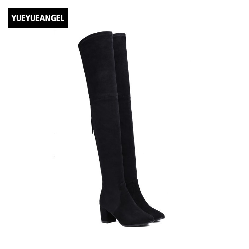New Stretchy Sheepskin Genuine Leather Womens Thigh High Boots Zipper Block High Heel Shoes Winter Slim Fit Knight Boots Sapatos