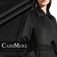 Free shipping! Black water ripple cashmere fabric autumn and winter coat silk wool fabrics wholesale high quality cashmere cloth
