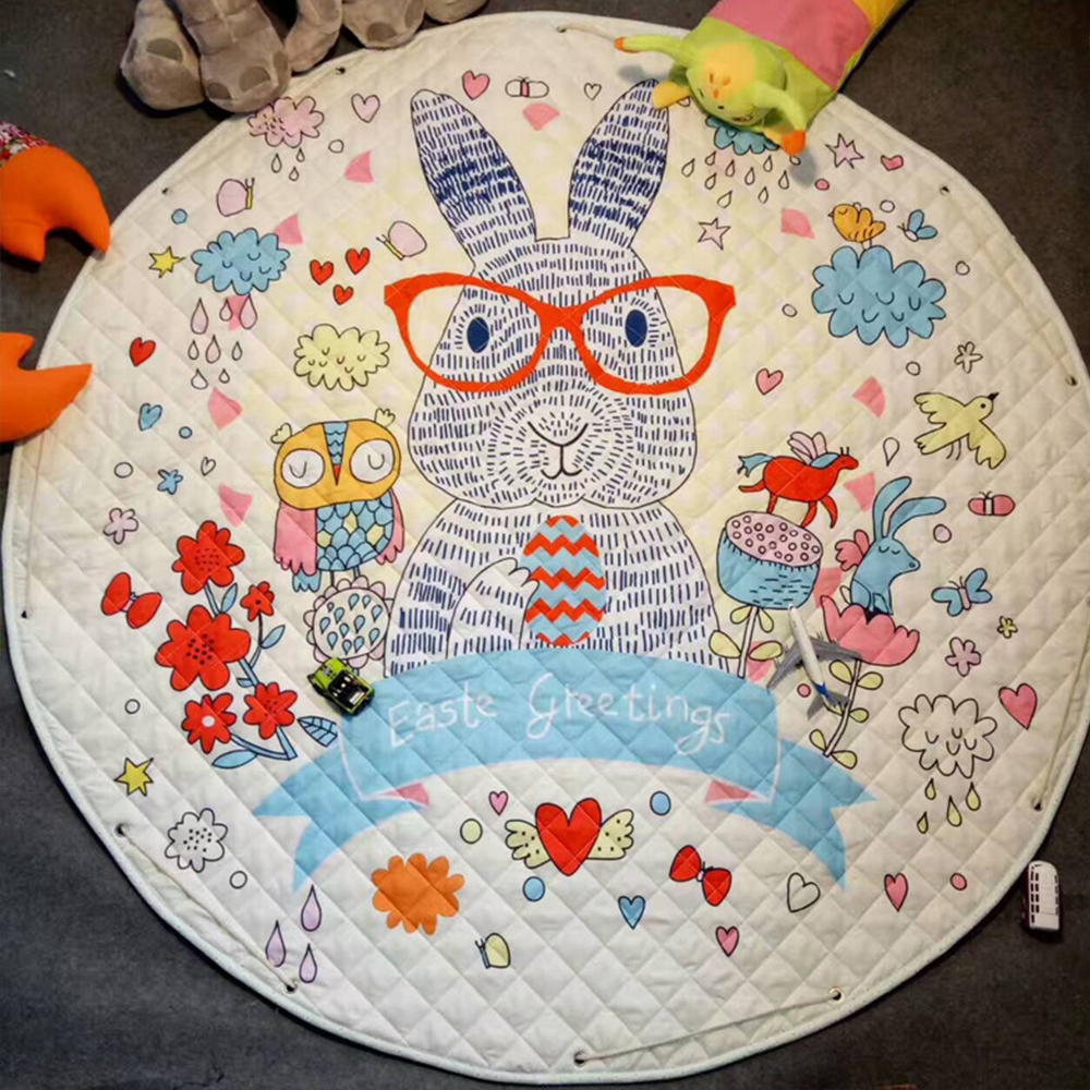 Cartoon Toys Children's Carpet Baby Play Mat Developing Mat For Children Round Rugs Cotton Playmat Cute Carpet Storage Bag Toys
