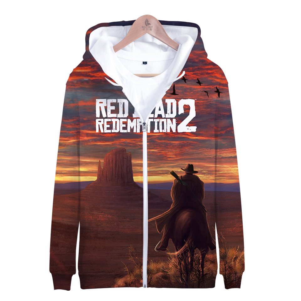 3D Red Dead Redemption 2 Baseball Jacket Casual Warm Oversized Harajuku Jacket Women Hoodies Sweatshirt Top