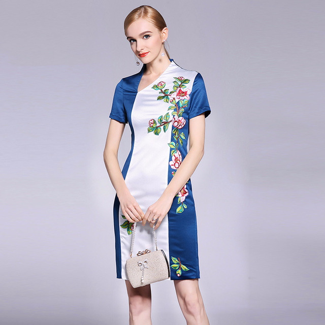 bc37f3e94258 hot office work lady dress 2018 new luxury Spring Summer short sleeves Clothes  women elegant Dress sexy pack hip flower dresses