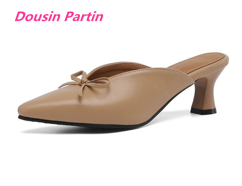 Dousin Partin Women Mules Pumps Square High Heel Slingback PU Leather Butterfly Knot Pointed Toe Slip