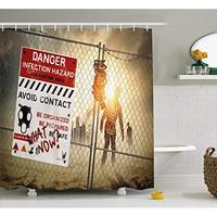 Vixm Zombie Decor Shower Curtain Dead Man Walking Dark Danger Scary Scene Fiction Halloween Infection Fabric Bath Curtains