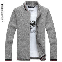 TIMESUNION Cardigan Cotton Men Brand Clothing Zipper Fashion Winter Jacket Striped Stand Collar Sweater Men