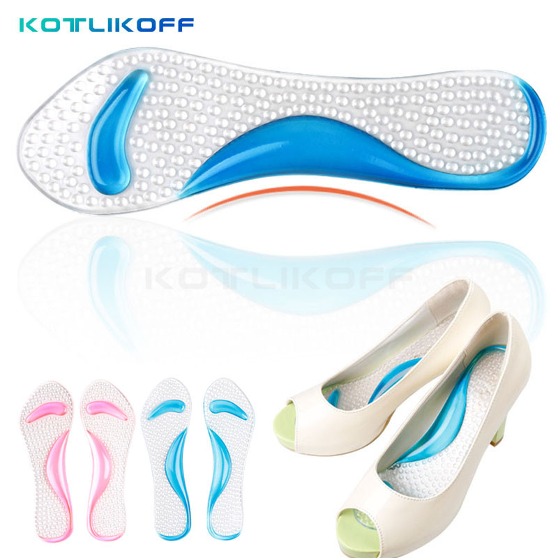 1 Piar Feet care gel 3/4 lady insoles with arch support and cushion orthotics and orthopedic high heels shoes pad and sandals 2 pairs lot gel massage 3 4 insoles women high heel insoles plantillas de calzado orthopedic insoles arch support feet care