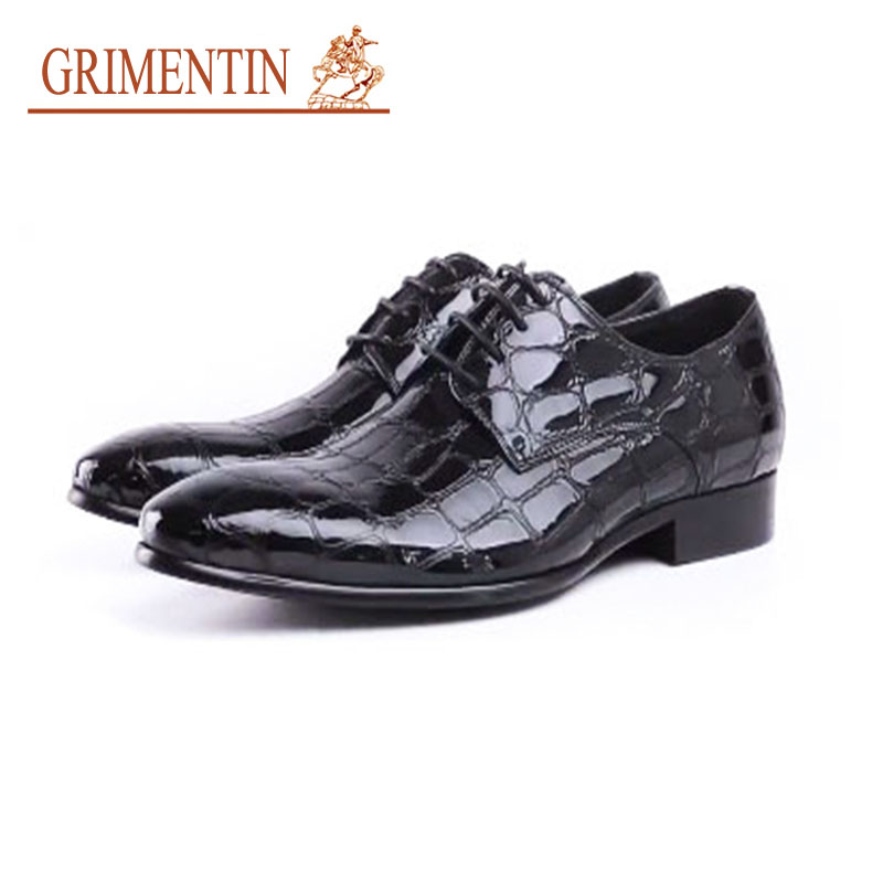 GRIMENTIN Men Business Shoes Patent Leather pointed toe black Formal Wedding Shoes Fashion Italian Dress Shoes bimuduiyu patent leather oxford shoes for men loafers dress shoes formal shoes pointed toe business fashion groom wedding shoes