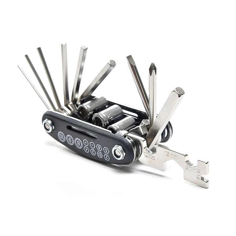Juego de llaves de neumático de coche de reparación plegable de coche de carretera 15 herramientas de reparación de combinación de Bicicletas todo en uno para bicicletas de exterior regalo Casa de camping
