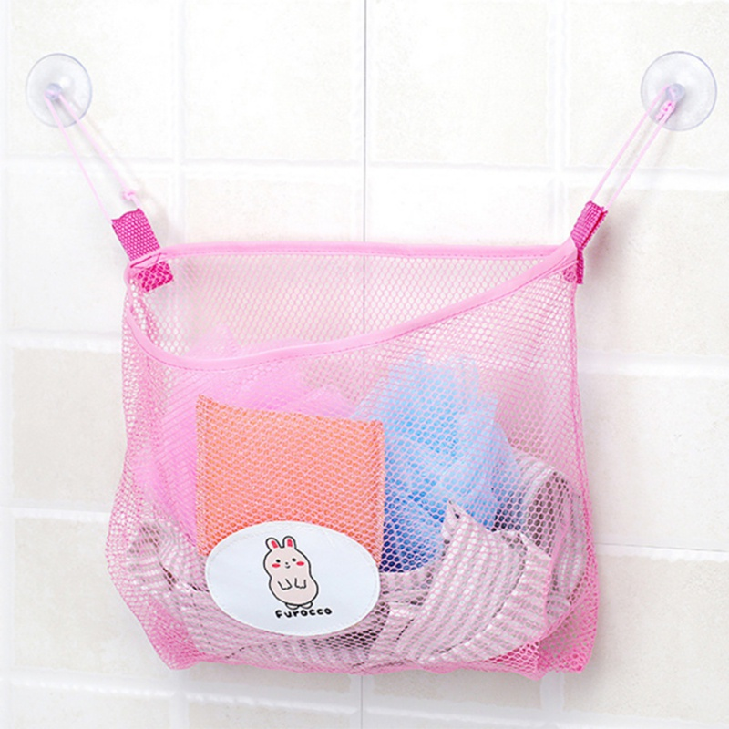 Polyester Transparent Cartoon Bathroom Sucker Hanging Storage Mesh Bags Multi-purpose Toys Cosmetics Organizers Pouch gis chino para chinches