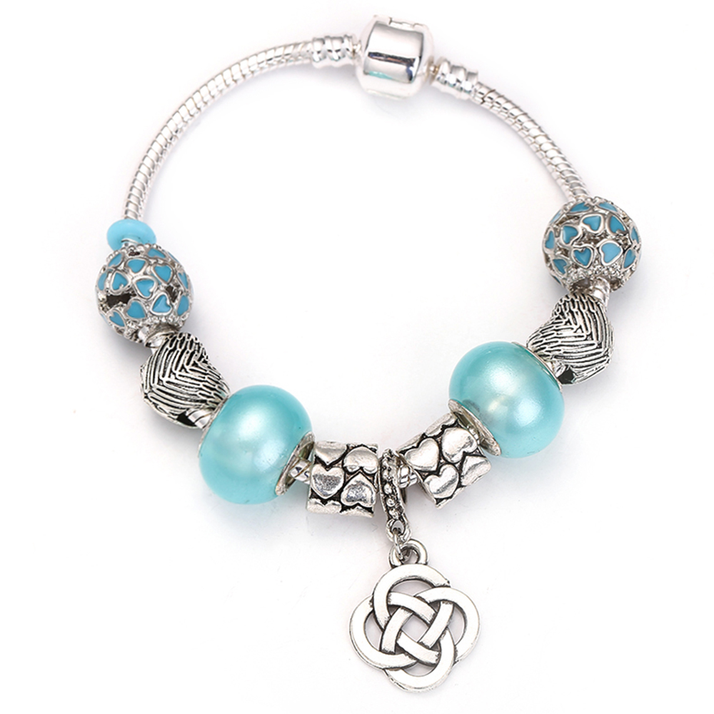 Lucky Four Leaves Grass Dangle Charm Bracelet for Women With Crystal Beads fit Snake Chain Pandora Bracelets DIY Jewelry