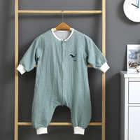 Saco de dormir de gasa de doble capa para bebé, mono de pierna abierta a prueba de patadas, pijama para niños, envoltura envolvente para recién nacido, 5 colores