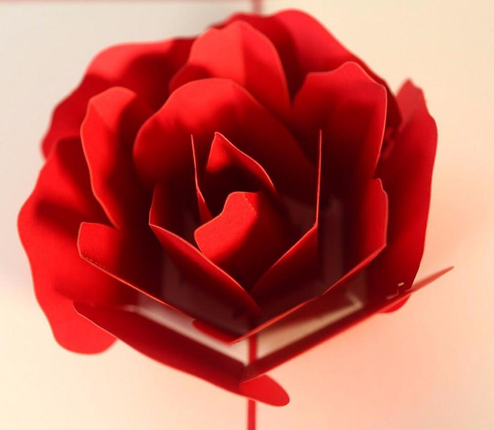 10pcs 3D Red Rose Flower Handmade Kirigami Origami Wedding Party ...