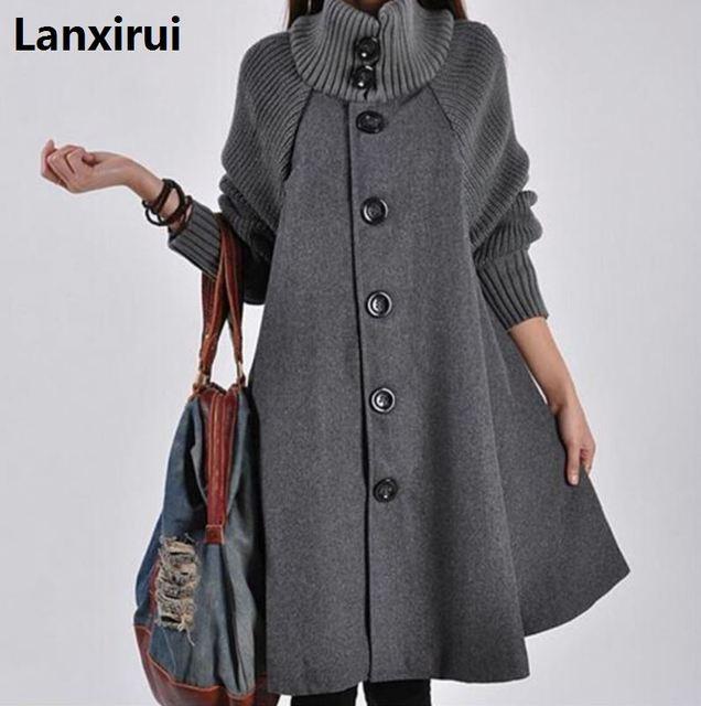 watch 013b7 0f653 Donna Monopetto A Maniche Lunghe Di Lana Cappotti Della Signora Casual UN  Linea di Lunghi Inverno Outwear Caldo
